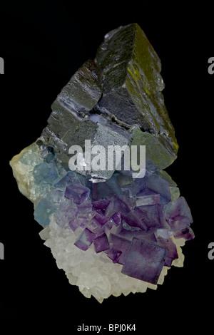 Fluorite (purple) Galena (metallic) and Quartz (white) - Blanchard Mine - Portales Tunnel - Socorro County - New - Stock Photo