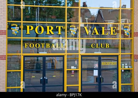 Port Vale Football Club entrance doors Burslem Stoke-on-Trent Staffordshire UK - Stock Photo