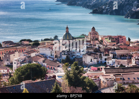 High angle view of Vietri sul Mare town near Salerno, Campania, Italy. - Stock Photo