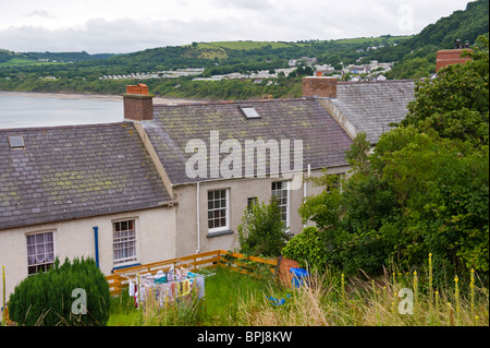 Scenic view over back of houses in the holiday seaside town of New Quay Ceredigion West Wales UK - Stock Photo