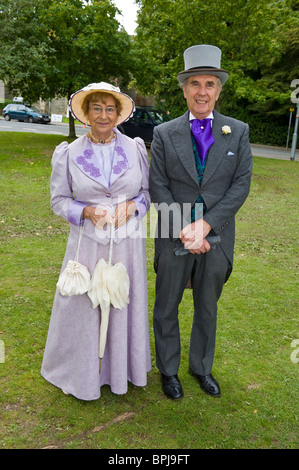 Woman and man in period costume at the annual Victorian Festival in Llandrindod Wells Powys Mid Wales UK