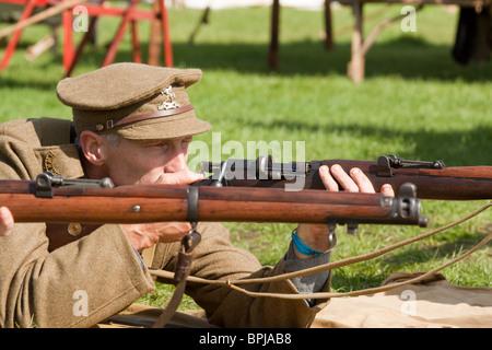 First World War WW1 British Rifleman Reenactor - Stock Photo