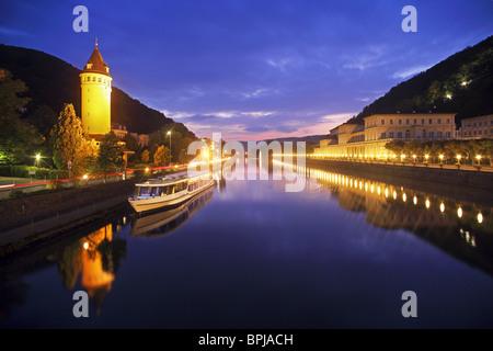 Tower Quellenturm and casino beside river Lahn, Bad Ems, Rhineland-Palatinate, Germany - Stock Photo