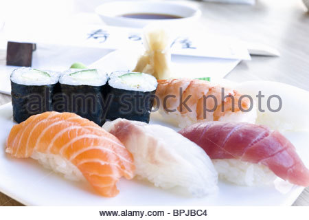 Sushi, delicatessen store Boehm, Stuttgart, Baden-Wuerttemberg, Germany - Stock Photo