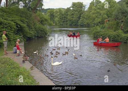 River Ruhr near Witten-Bommern, Ruhrgebiet, North Rhine-Westphalia, Germany, Europe - Stock Photo