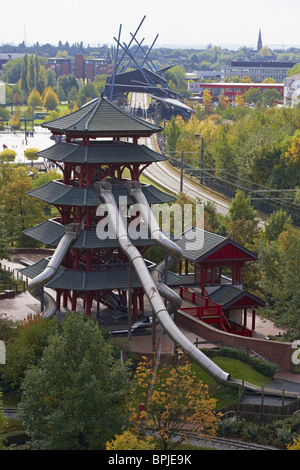 View from CentrO.PARK at Neue Mitte Oberhausen, Ruhrgebiet, North Rhine-Westphalia, Germany, Europe - Stock Photo