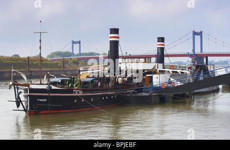 Paddle steamer (Radschleppdampfer)  Oskar Huber, Museum of German Inland Navigation, Port of the museum, Duisburg - Stock Photo