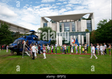 View of German Chancellor`s building the Bundeskanzleramt with helicopter during Open Doors Day in Berlin Germany - Stock Photo