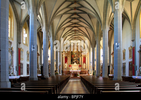 Collegiate, parish,church, late gothic, hall, from 1511, St. Philip and Jacob indoor, Altoetting, Bavaria, Germany - Stock Photo