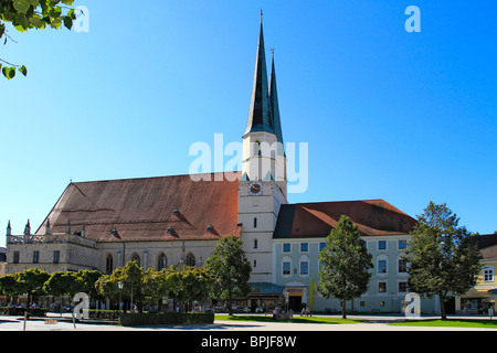 Collegiate, parish,church, late gothic, hall, from 1511, St. Philip and Jacob at chapel square in Altoetting, Bavaria, - Stock Photo