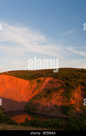 Triscombe Quarry on the Quantocks, Somerset at sunset.  The Moon can be seen in sky above. - Stock Photo