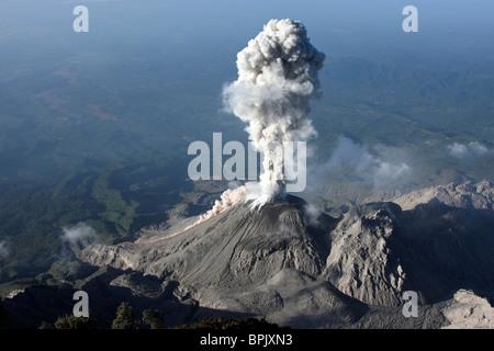 January 3, 2009 - Santiaguito ash eruption, Guatemala. - Stock Photo