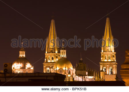 Metropolitan Cathedral at night, Plaza de Armas (square) in the historic Center of Guadalajara, Jalisco, Mexico - Stock Photo