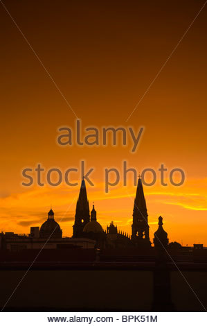 Metropolitan Cathedral at sunset, Plaza de Armas (square) in the historic Center of Guadalajara, Jalisco, Mexico - Stock Photo