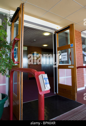 Disability access  Entrance Doors at Vitalise Respite Care Centre, Southport, Merseyside, UK - Stock Photo