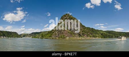 Lorelei Rock above the Rhine River, a UNESCO World Heritage Site, Sankt Goarshausen, Rhineland-Palatinate, Germany, - Stock Photo
