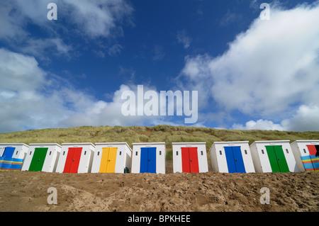 Beach Huts at Woolacombe, Devon, UK - Stock Photo