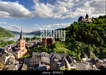 View of Bacharach am Rhein, with St. Peter's Church, Werner Chapel and Burg Stahleck, Rhineland-Palatinate, Germany, - Stock Photo