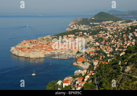 DUBROVNIK, CROATIA. A dawn view north over the old walled town towards the Lapad district and beyond to the Elaphite - Stock Photo