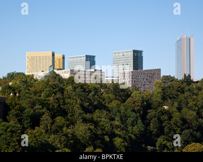 modern office buildings at the european quarter on the Kirchberg, Luxembourg city - Stock Photo