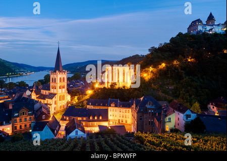 View of Bacharach, with St. Peter's Church, Werner Chapel and Burg Stahleck Castle, Rhineland-Palatinate, Germany - Stock Photo
