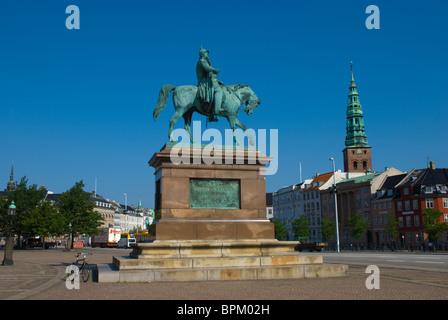 King Christian IX statue at Christiansborg on Slotsholmen island central Copenhagen Denmark Europe - Stock Photo
