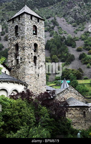 The belfry tower of St Esteve church in the centre of the capital city of Andorra La Vella in Andorra - Stock Photo