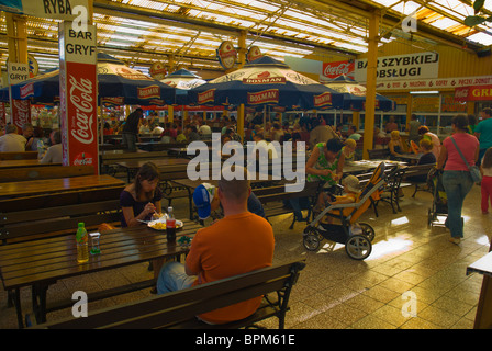 Food court at the beach in Swinoujscie Pomerania Poland Europe - Stock Photo