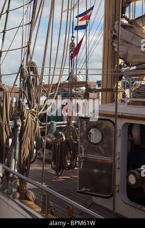 The rigging of a sail boat, Amsterdam Sail 2010 - Stock Photo