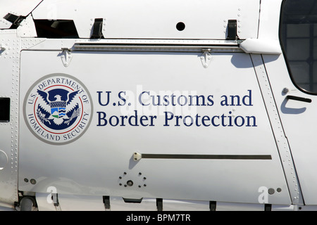 US Department of Homeland Security Customs and Border Protection helicopter detail - Stock Photo