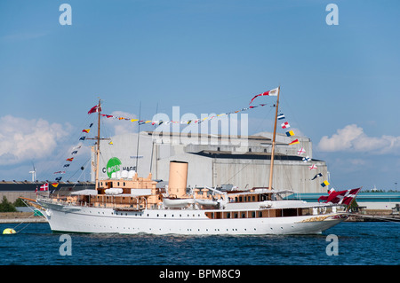 The (HDMY Dannebrog A540) Danish Royal Yacht anchored in the port of Copenhagen, Denmark during the 500 year anniversary. - Stock Photo