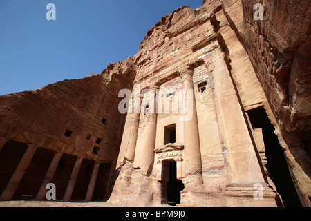 The Urn tomb, one of the royal tombs in Petra, Jordan - Stock Photo