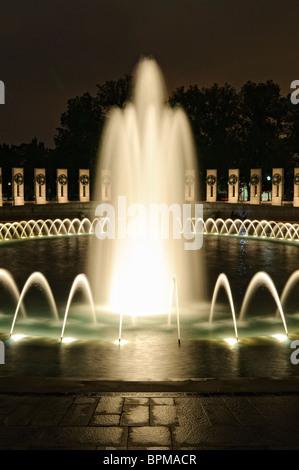 WASHINGTON DC, USA - Night shot of the fountains at center of the National World War II Memorial in Washington DC - Stock Photo