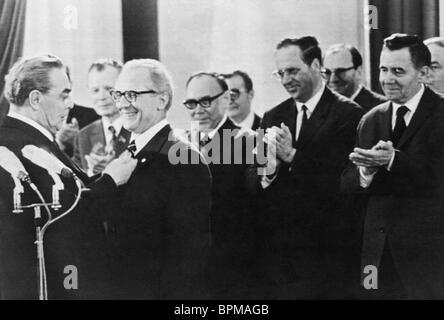 Leonid Brezhnev visits Berlin, 1973 - Stock Photo