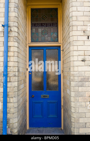 Victorian Paneled Blue Painted Front Door With Fanlight