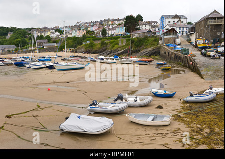 View over picturesque harbour in the Welsh seaside holiday resort of New Quay Ceredigion West Wales UK - Stock Photo