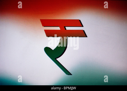 New Indian Rupee Currency Symbol Created By Arranging Coins Over