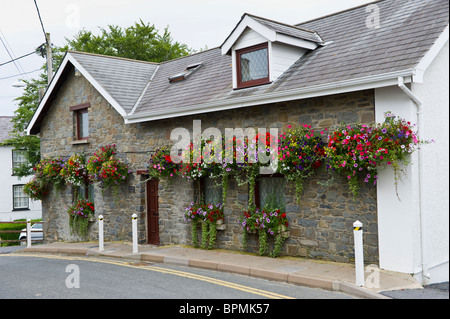 Hanging flower baskets outside detached house in the seaside holiday resort of New Quay Ceredigion West Wales UK - Stock Photo