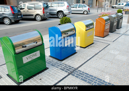 Recycling in L'Espluga de Francolí. Tarragona. Catalonia. Spain. - Stock Photo