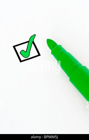 Green check box - Stock Photo