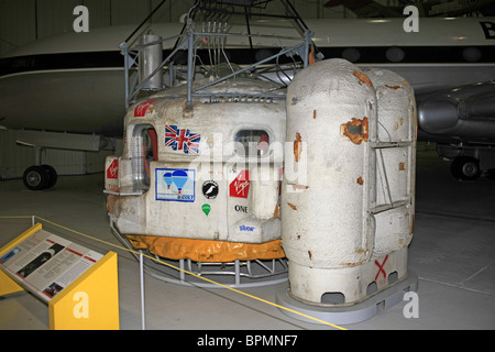 The Virgin Atlantic Flyer hot-air balloon capsule on display at the AirSpace section at the Imperial War Museum Duxford