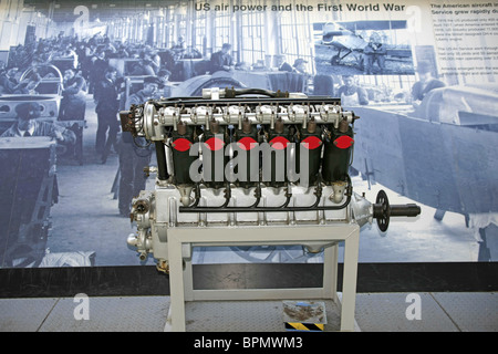 A WW1 American Aircraft engine on display at the American Air Museum IWM Duxford - Stock Photo