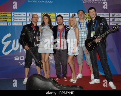 Eurovision song contesters rehearse at Olimpiysky Sports Centre - Stock Photo