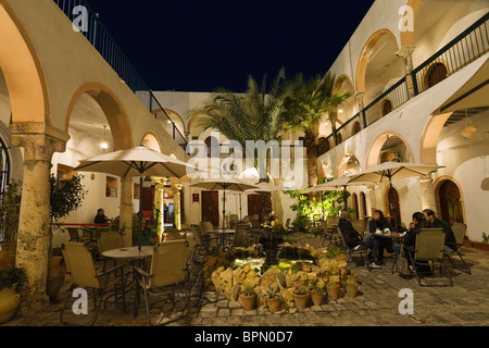 Cafe Marcus, Inner Courtyard in the Medina, Old Town, Tripoli, Libya, Africa - Stock Photo