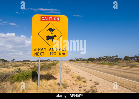 Warning sign on the Eyre Highway across the Nullarbor Plain, Western Australia. - Stock Photo