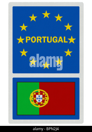 EU signs series - Portugal, photo realistic metallic reflective sign, isolated on white - Stock Photo
