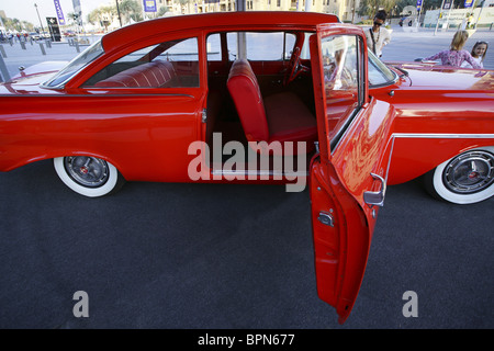 Red vintage car, Dubai, UAE, United Arab Emirates, Middle East, Asia - Stock Photo