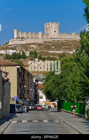 Provincial Wine Museum of Valladolid, castle national monument the town of Peñafiel seen from a street in Castilla - Stock Photo