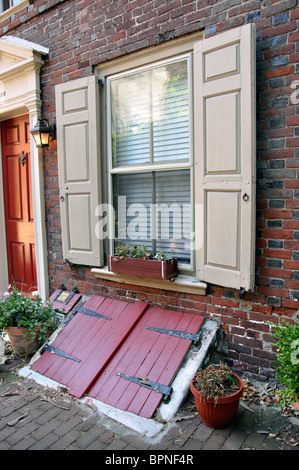 ... Hatchway, External Cellar Doors   Stock Photo