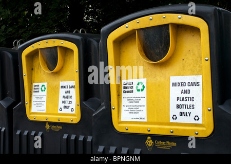 recycling bins for tin cans and plastic bottles, uk - Stock Photo